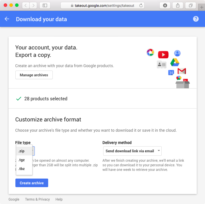 Google Takeout web screenshot 004