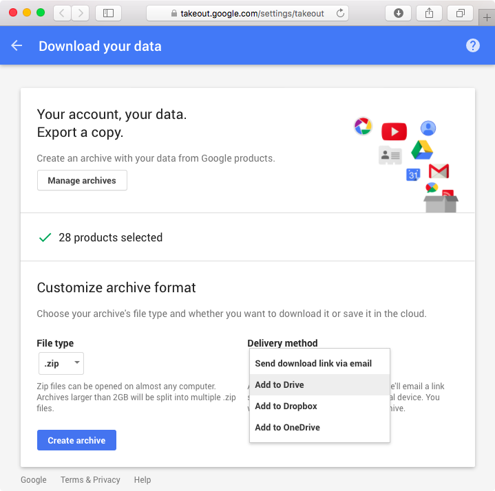 Google Takeout web screenshot 005
