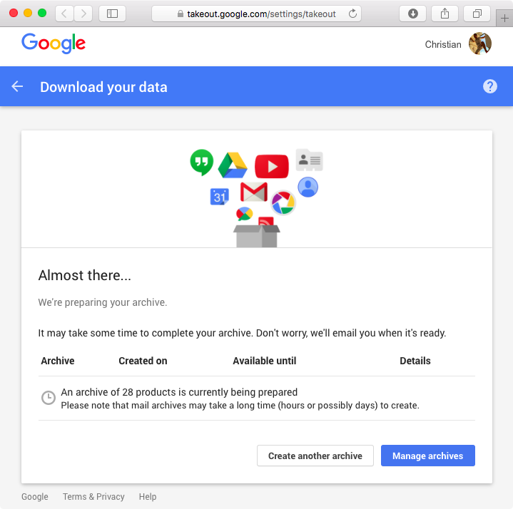 Google Takeout web screenshot 007