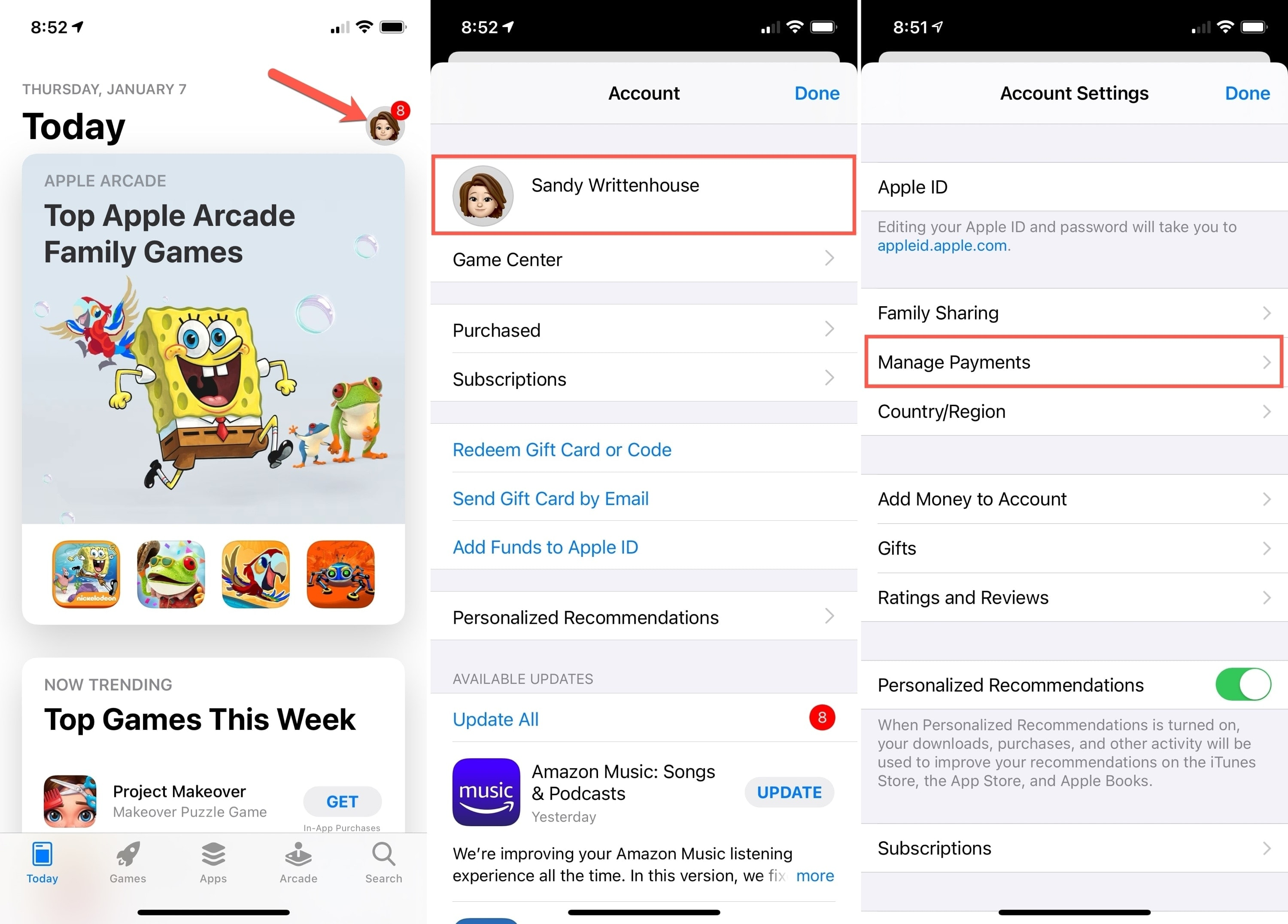 Manage Payments in App Store on iPhone