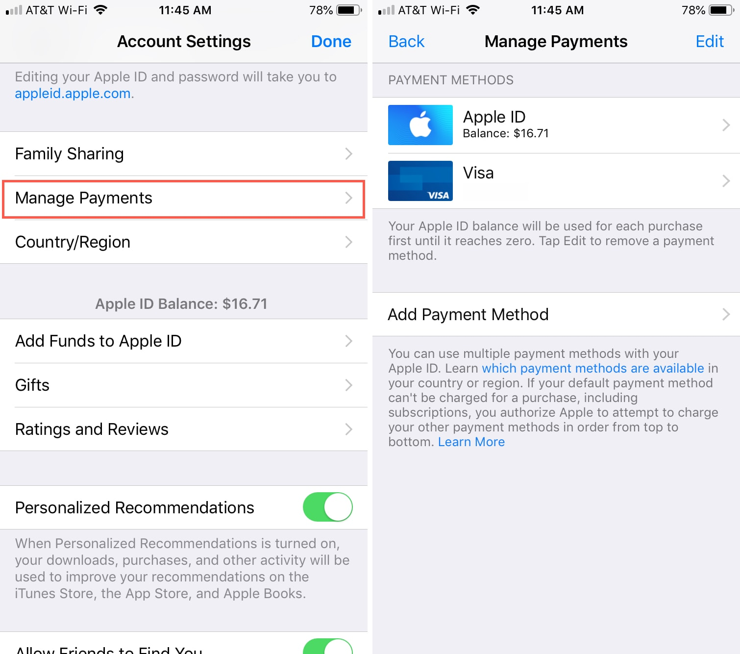 Changing your Apple ID credit card info directly from your