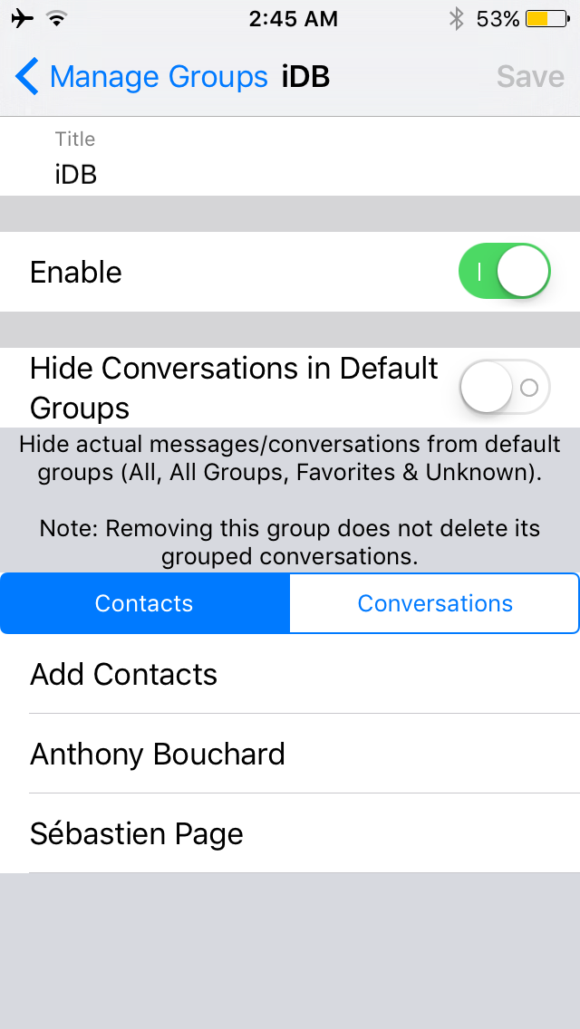 Messages Groups Manage a Group