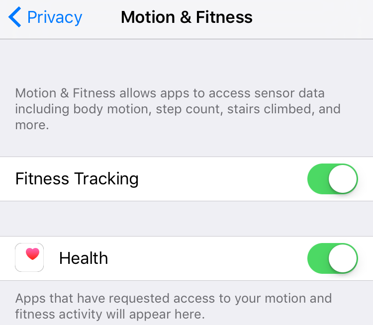 Motion and Fitness tracking