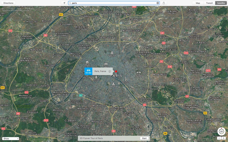 OS X El Capitan Apple Maps 3D Flyover Tour Paris Mac screenshot 001