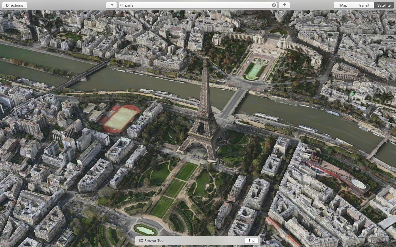 OS X El Capitan Apple Maps 3D Flyover Tour Paris Mac screenshot 002