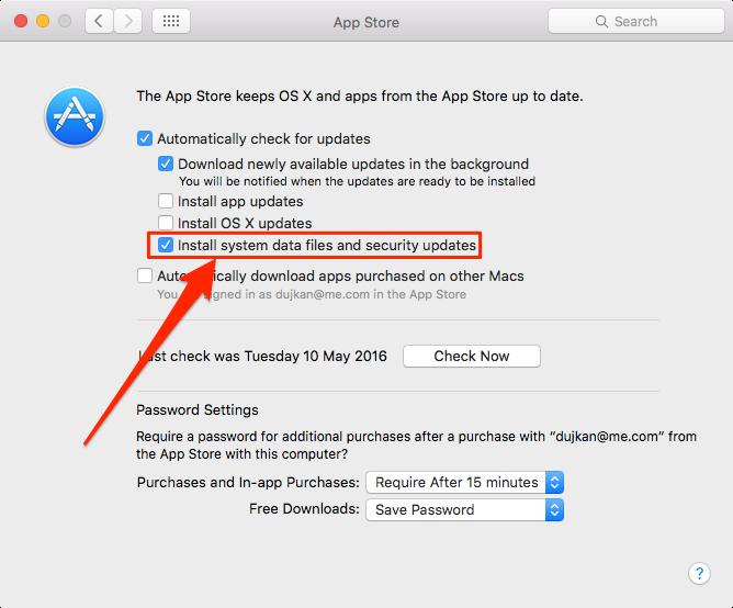 OS X El Capitan Preferencias del sistema App Store Archivo Cuarentena actualizaciones Mac captura de pantalla 002