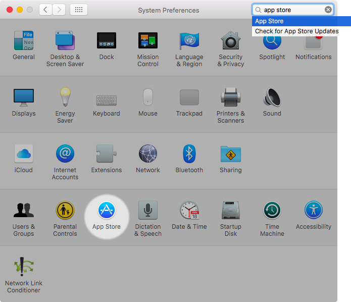 OS X El Capitan System Preferences App Store highlighted Mac screenshot 001