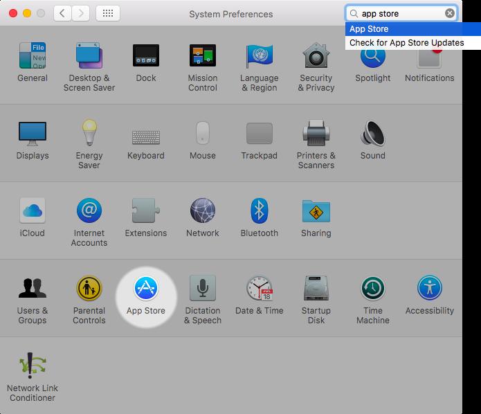 OS X El Capitan System Preferences App Store destacó la captura de pantalla de Mac 001