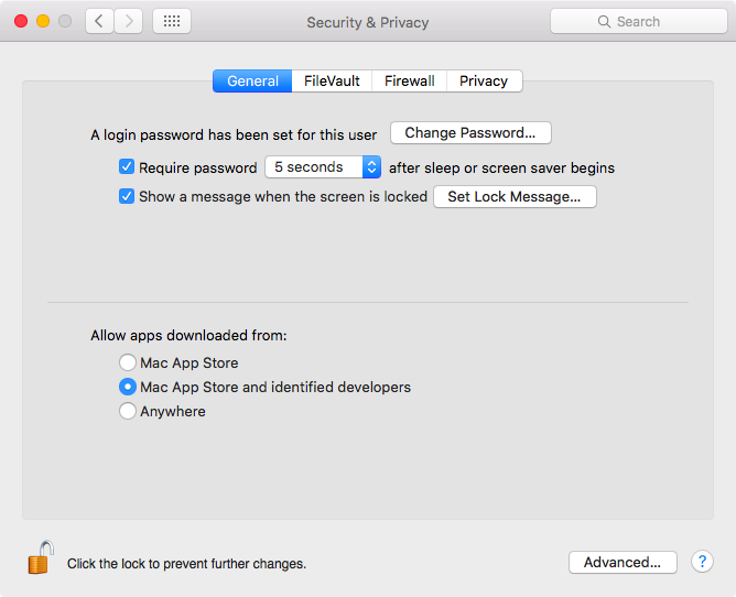 OS X El Capitan System Preferences Securtiy and Privacy Allow apps downloaded from Mac App Store and identified developers promprt Mac screenshot 001