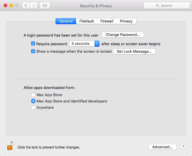 OS X El Capitan Preferencias del sistema Seguridad y privacidad Permitir que las aplicaciones se descarguen de la Mac App Store y los desarrolladores identificados soliciten la captura de pantalla de Mac 001
