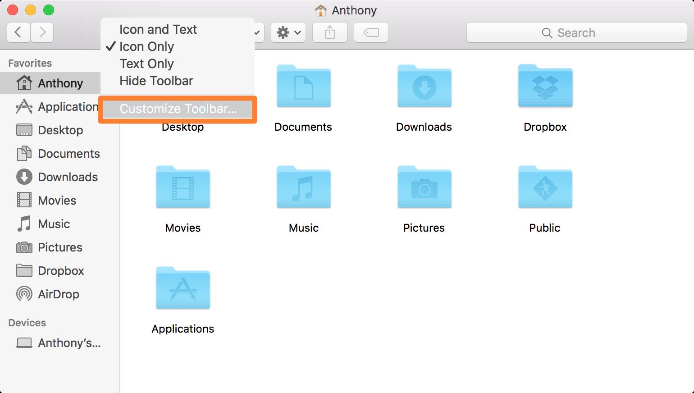 OS X Finder Customize Toolbar Button