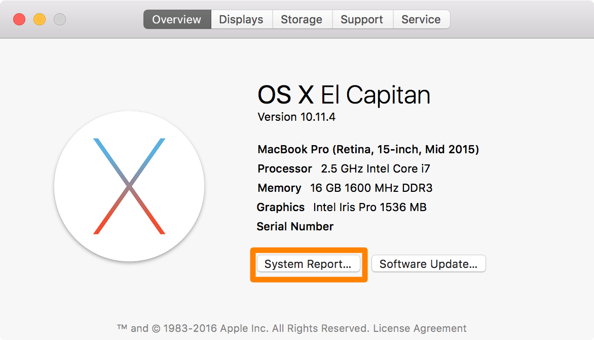 OS X System Report Button