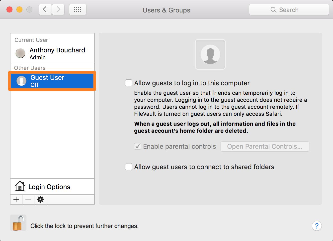 create guest account Mac