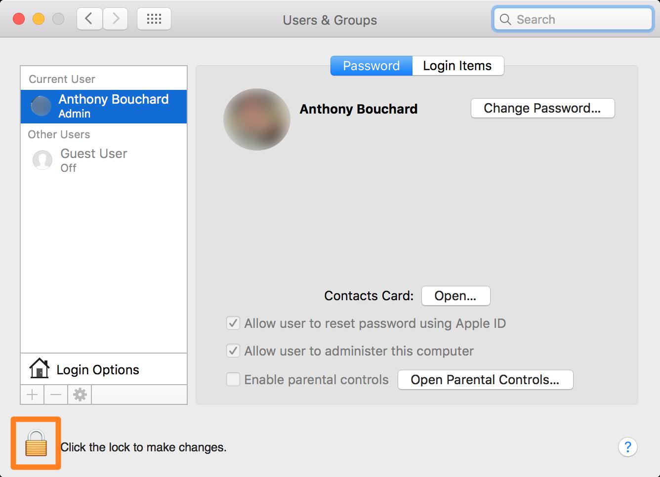 OS X create guest account unlock button