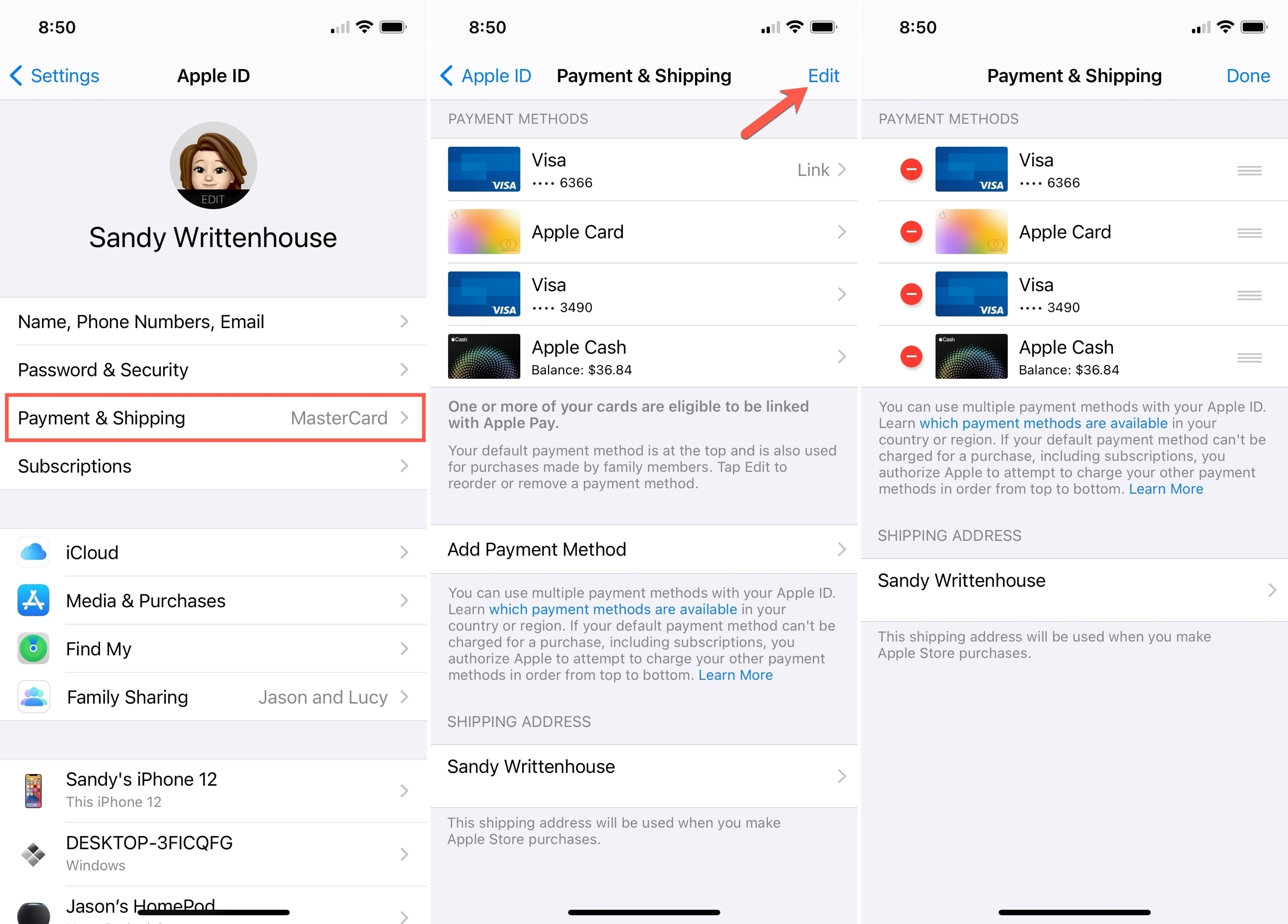 Payment and Shipping in Settings on iPhone
