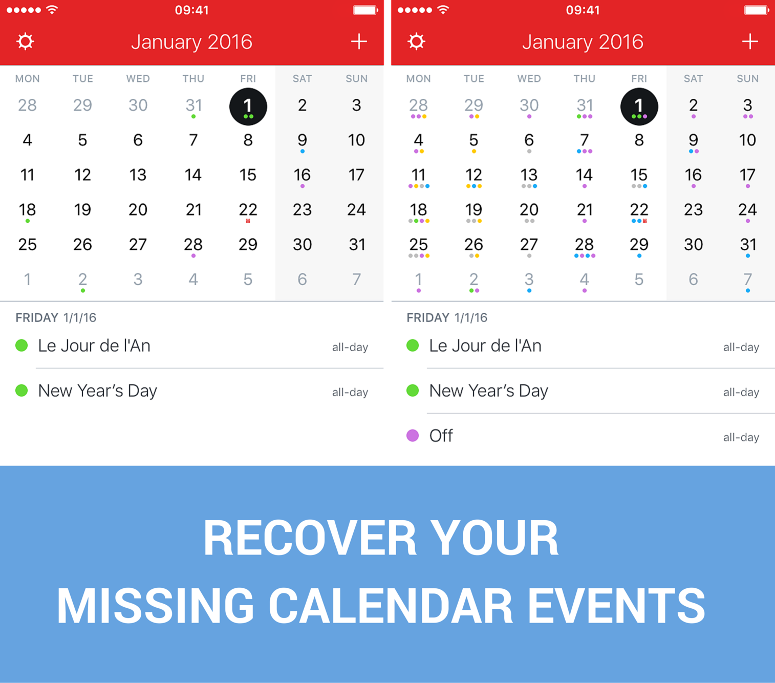 Recover missing calendar events