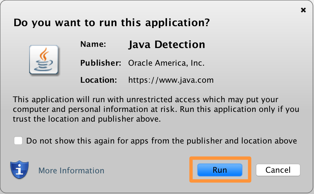Ejecute Java Detection en Mac
