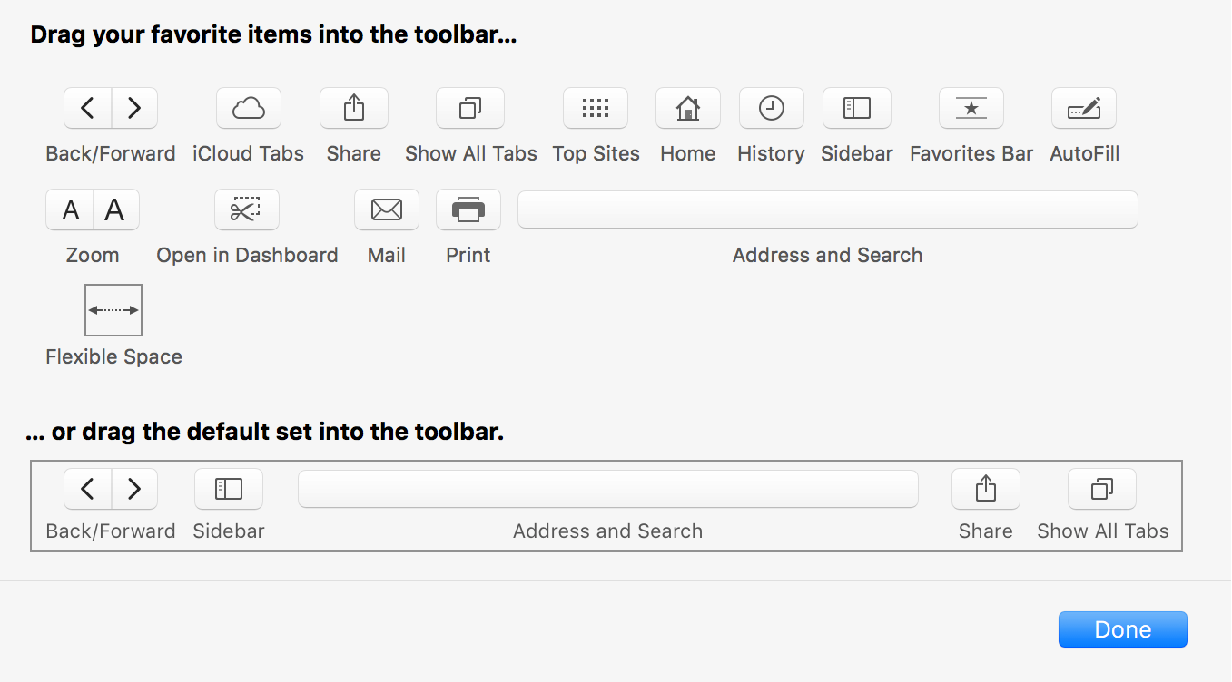 Safari Toolbar Editor