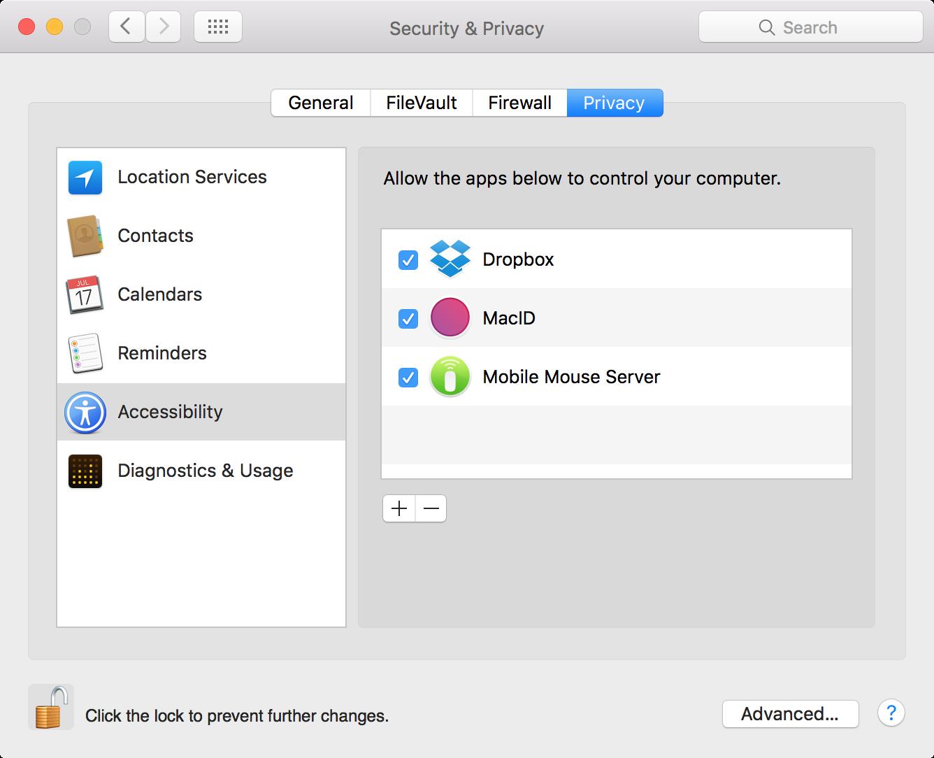 Accesibilidad del servidor de mouse móvil