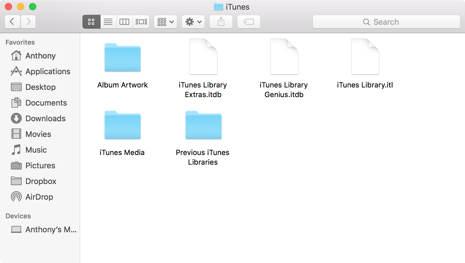 iTunes folder in Finder on Mac