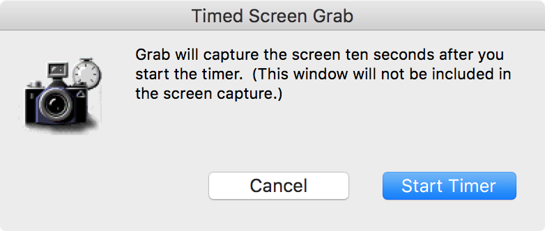 Grab App Timed Screenshot 10 Seconds Mac