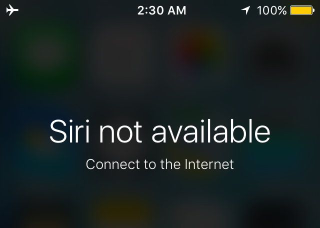 hey siri not working - not available connect to the internet