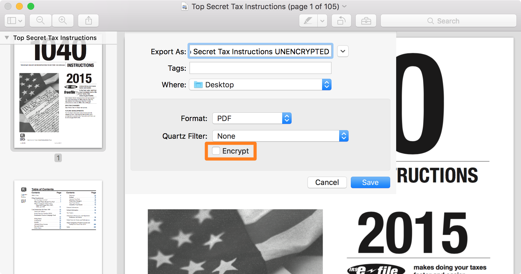 Unencrypt PDF file on Mac before Export