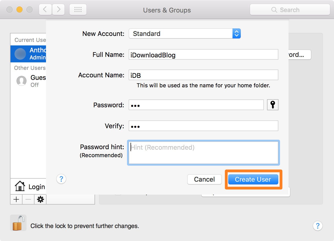 User account info on Mac