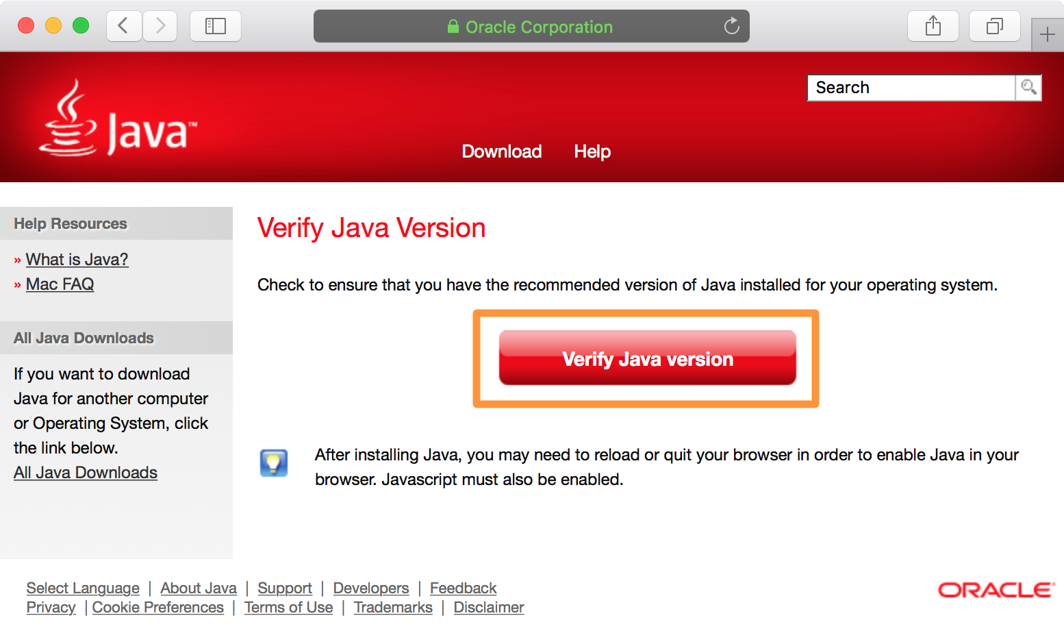 Verify Java Version Website Button