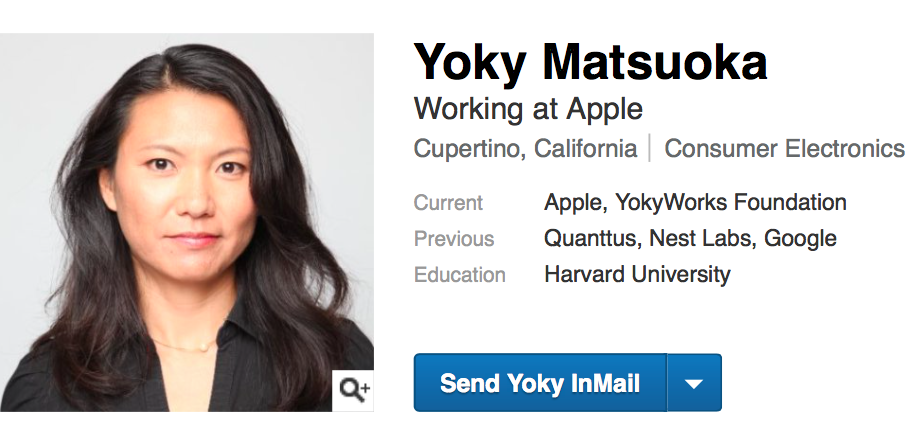 Yoky Matsuoka LinkedIn profile web screenshot 001