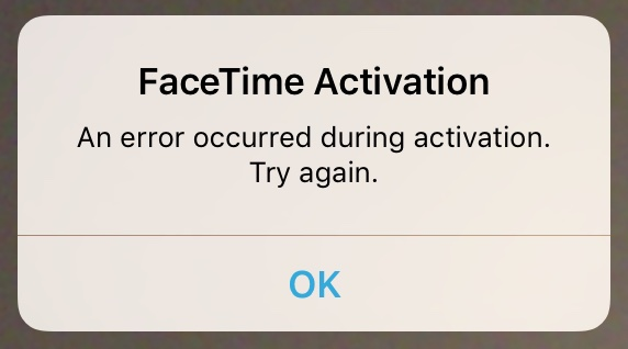FaceTime Error Message iOS