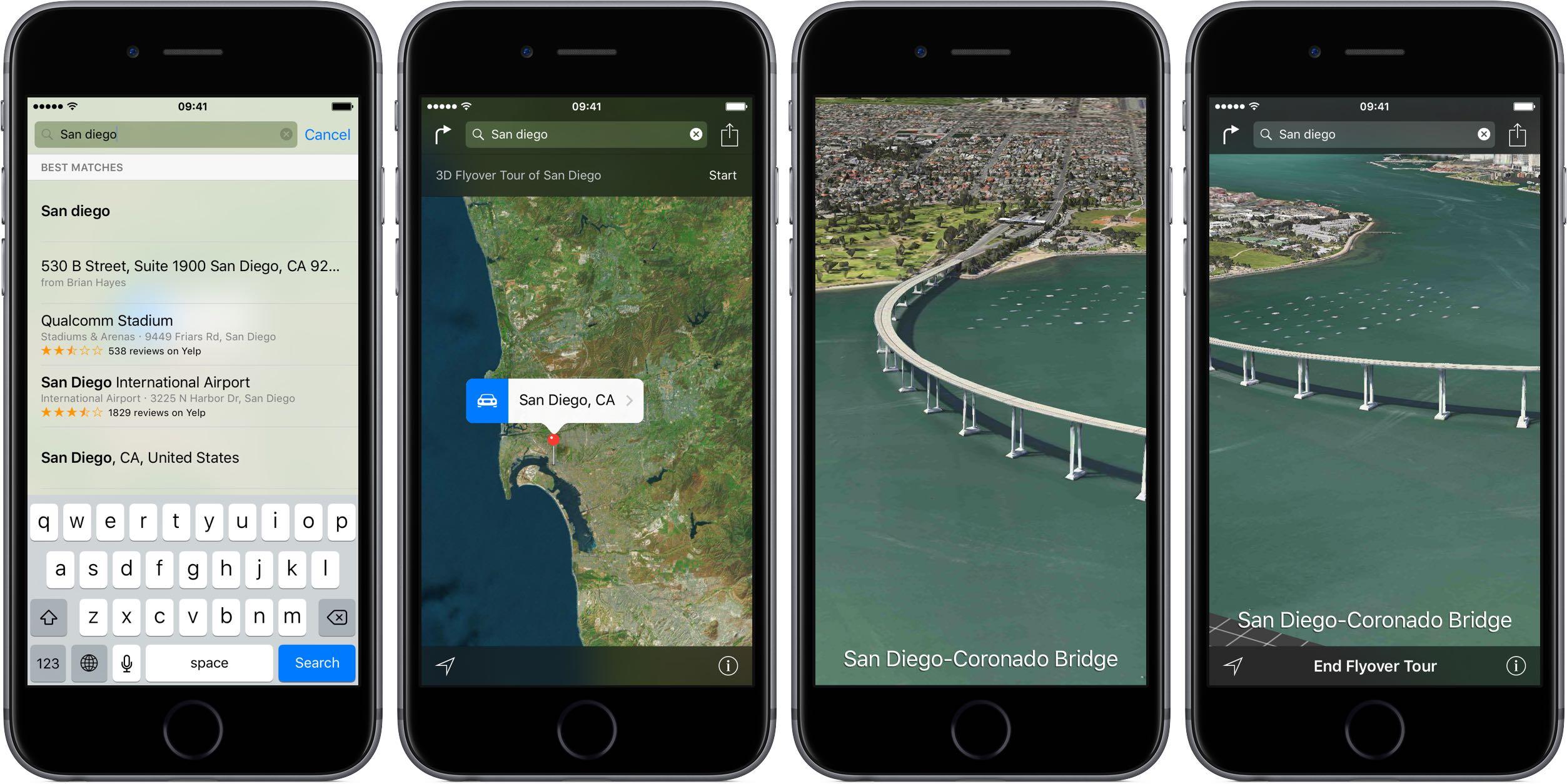 iOS 9 Apple Maps 3D Flyover Tour San Diego iPhone screenshot 001