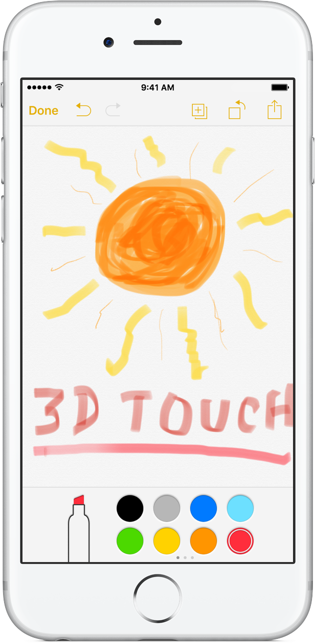 iOS 9 Notes 3D Touch pressure drawing iPhone 6s screenshot 002