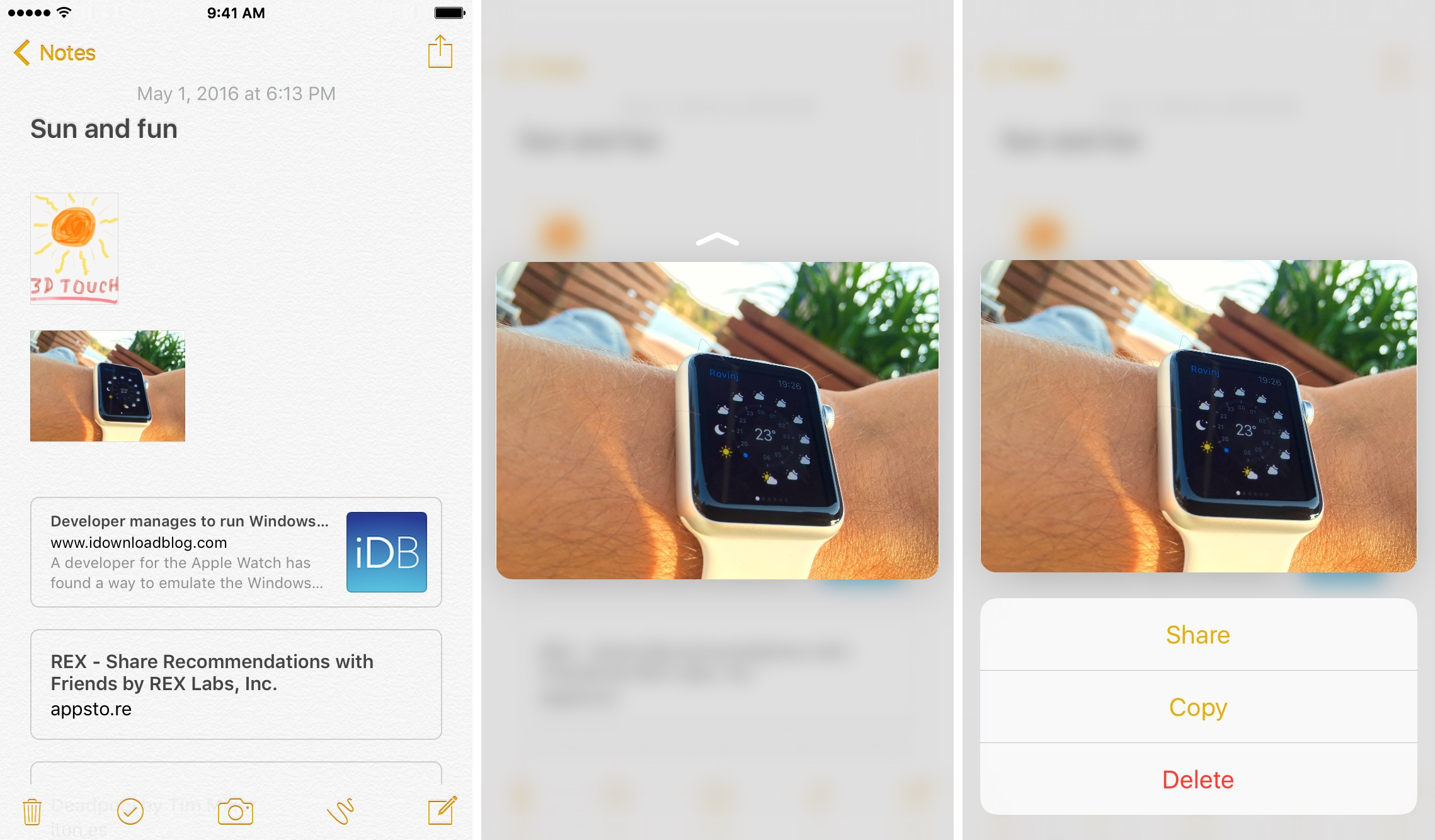iOS 9 Notes 3D Touch preview attachments iPhone 6s screenshot 004