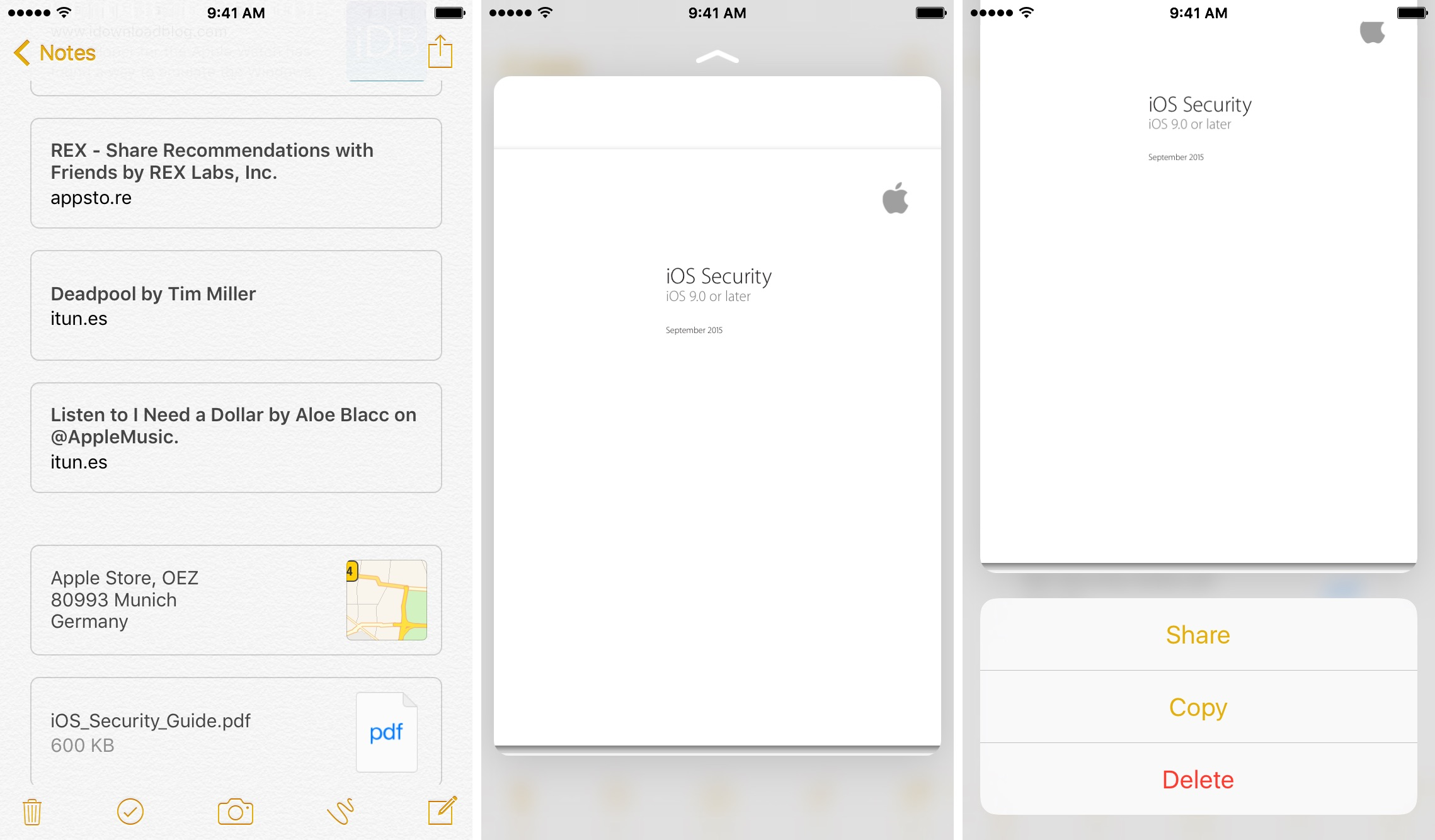 iOS 9 Notes 3D Touch preview attachments iPhone 6s screenshot 007