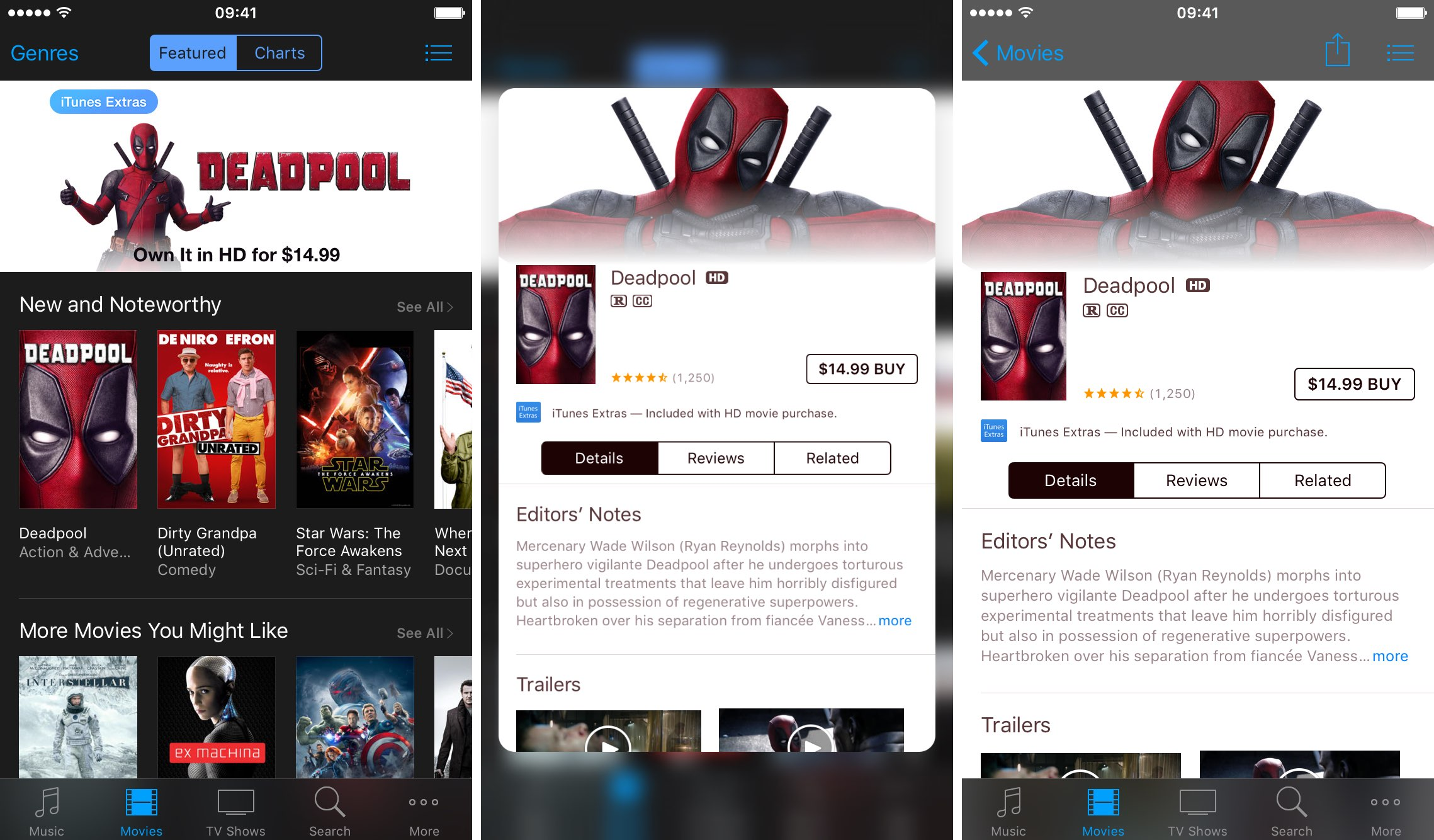 iOS 9.3 3D Touch iTunes Store Películas previsualizaciones Captura de pantalla del iPhone 001