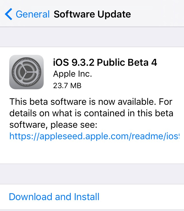 iOS 9.3.2 beta 4 update prompt