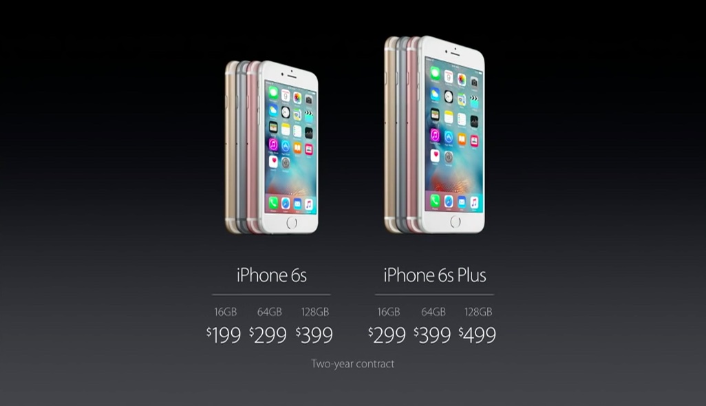 iPhone 6s pricing slide