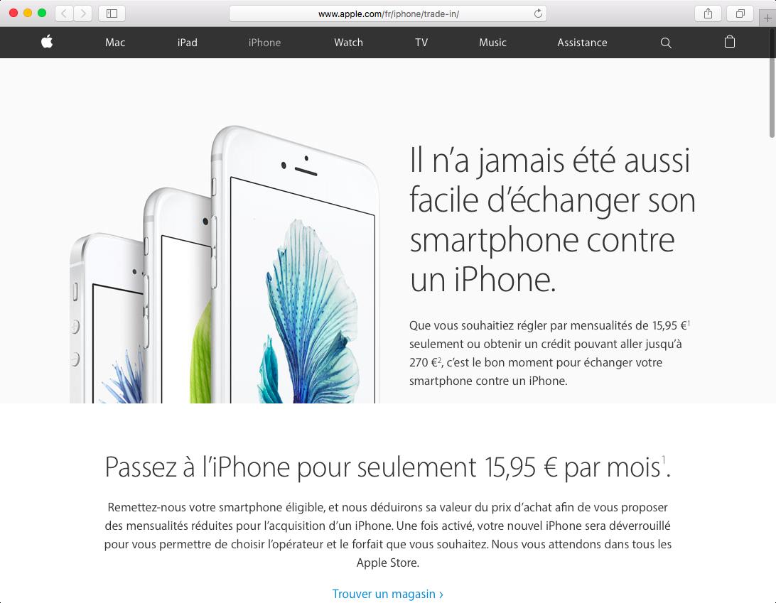 iPhone trade up program France web screenshot 001