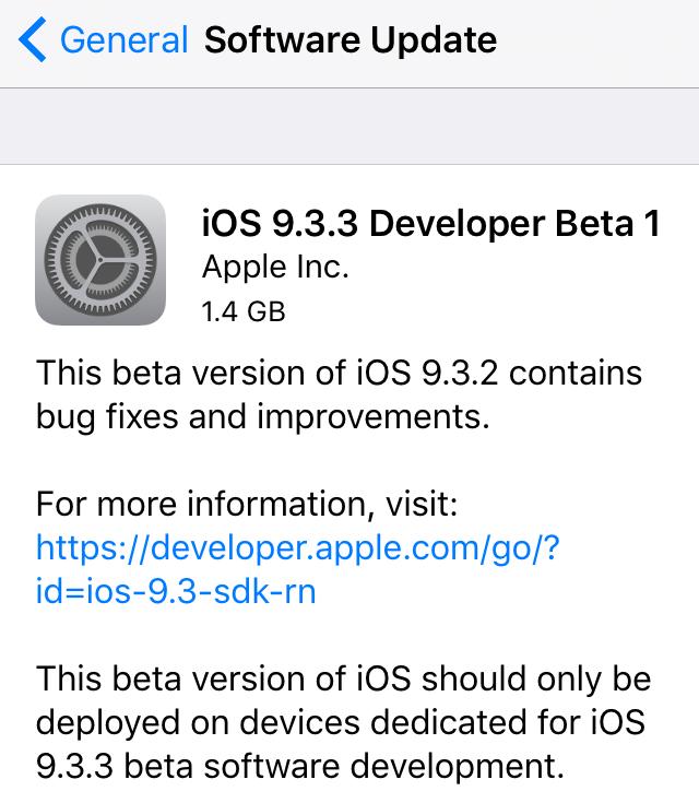 os 9.3.3 beta 1