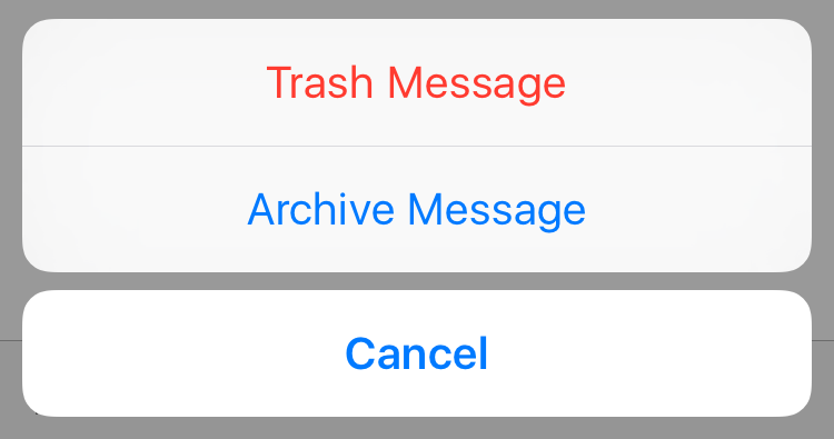 trash archive email on iPhone