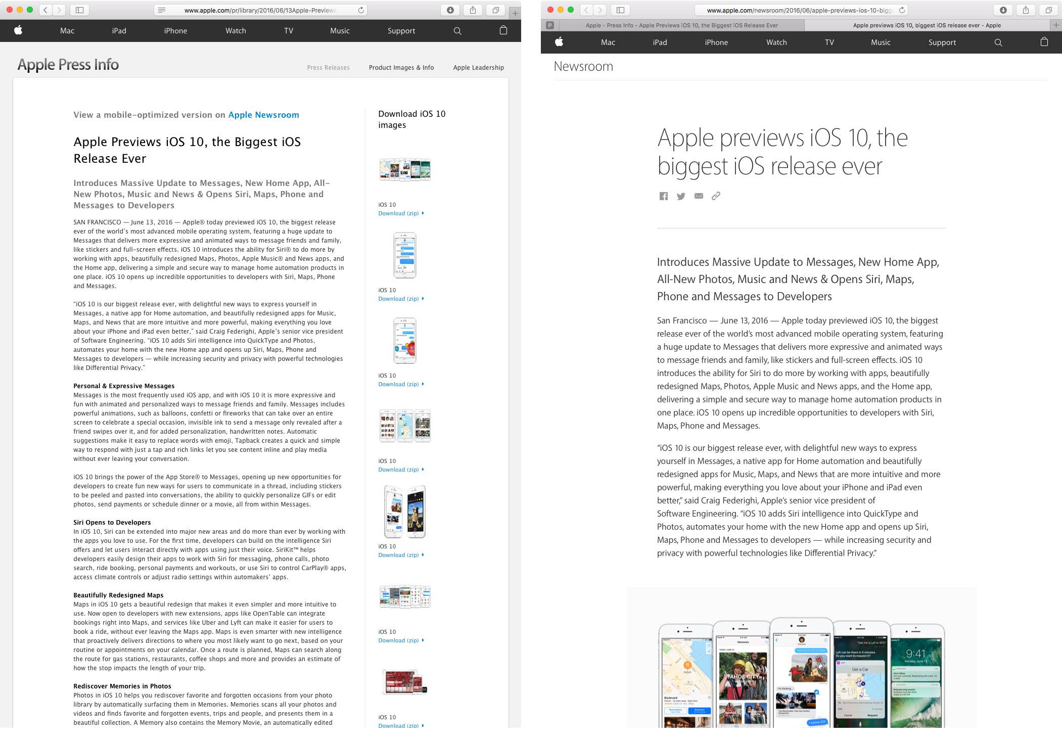 Apple Newsroom desktop vs mobile web screenshot 001