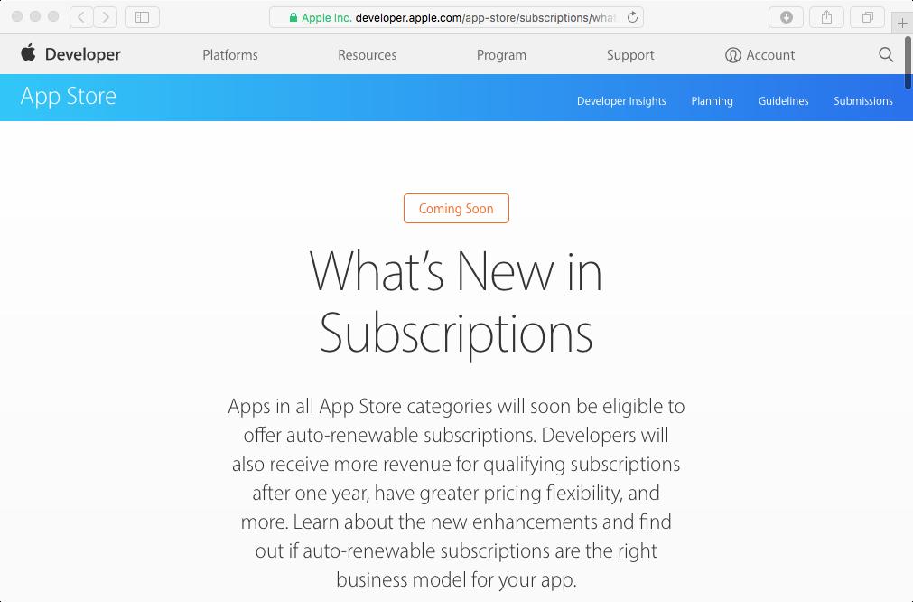 Captura de pantalla web 001 de Apple Whats New in Subscriptions
