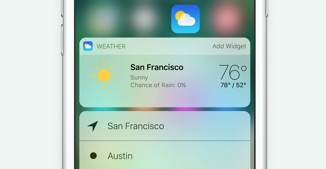 Apple iOS 10 Weather App 3D Touch