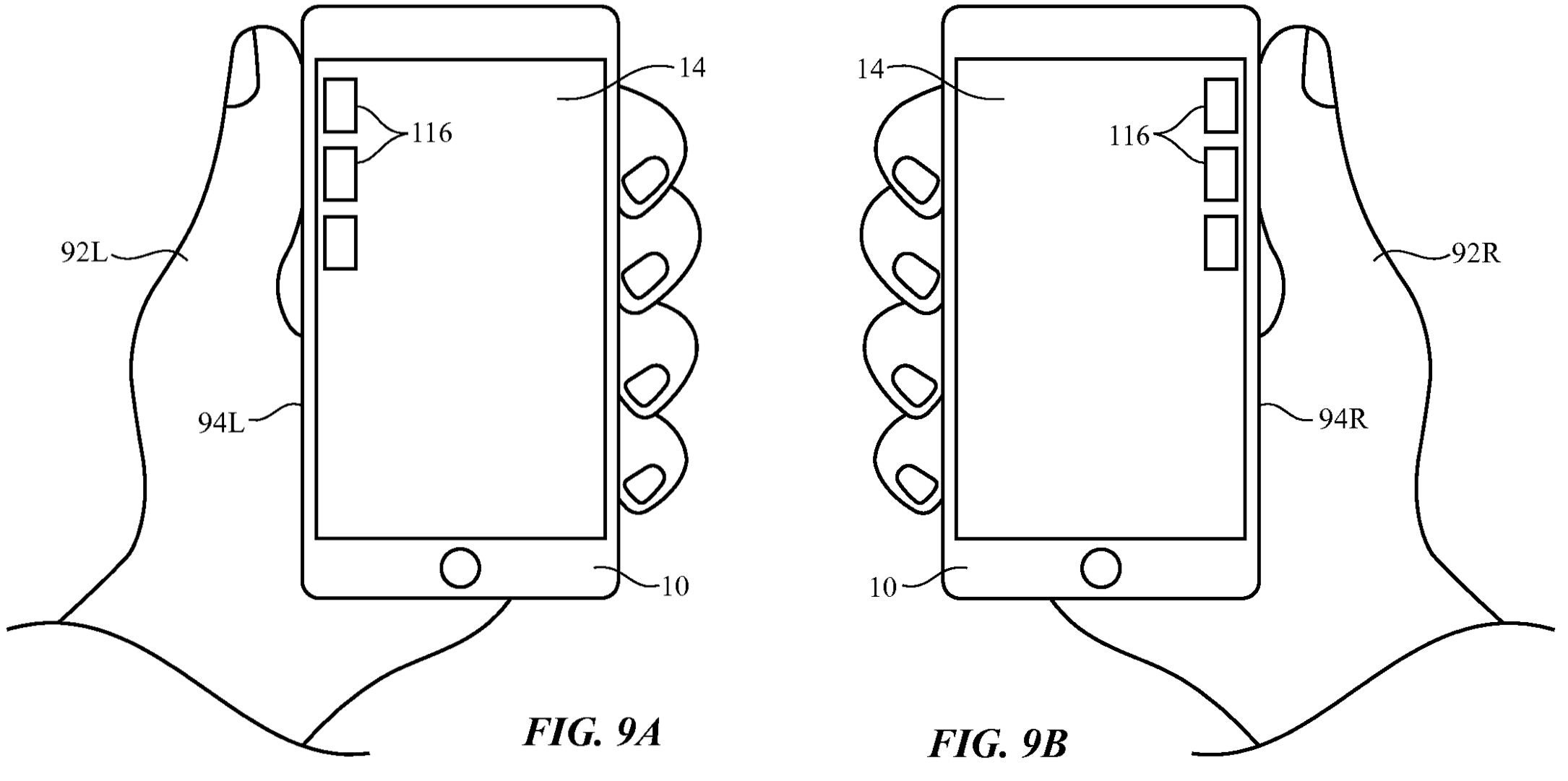 Apple patent iPhone left-handed use drawing 001