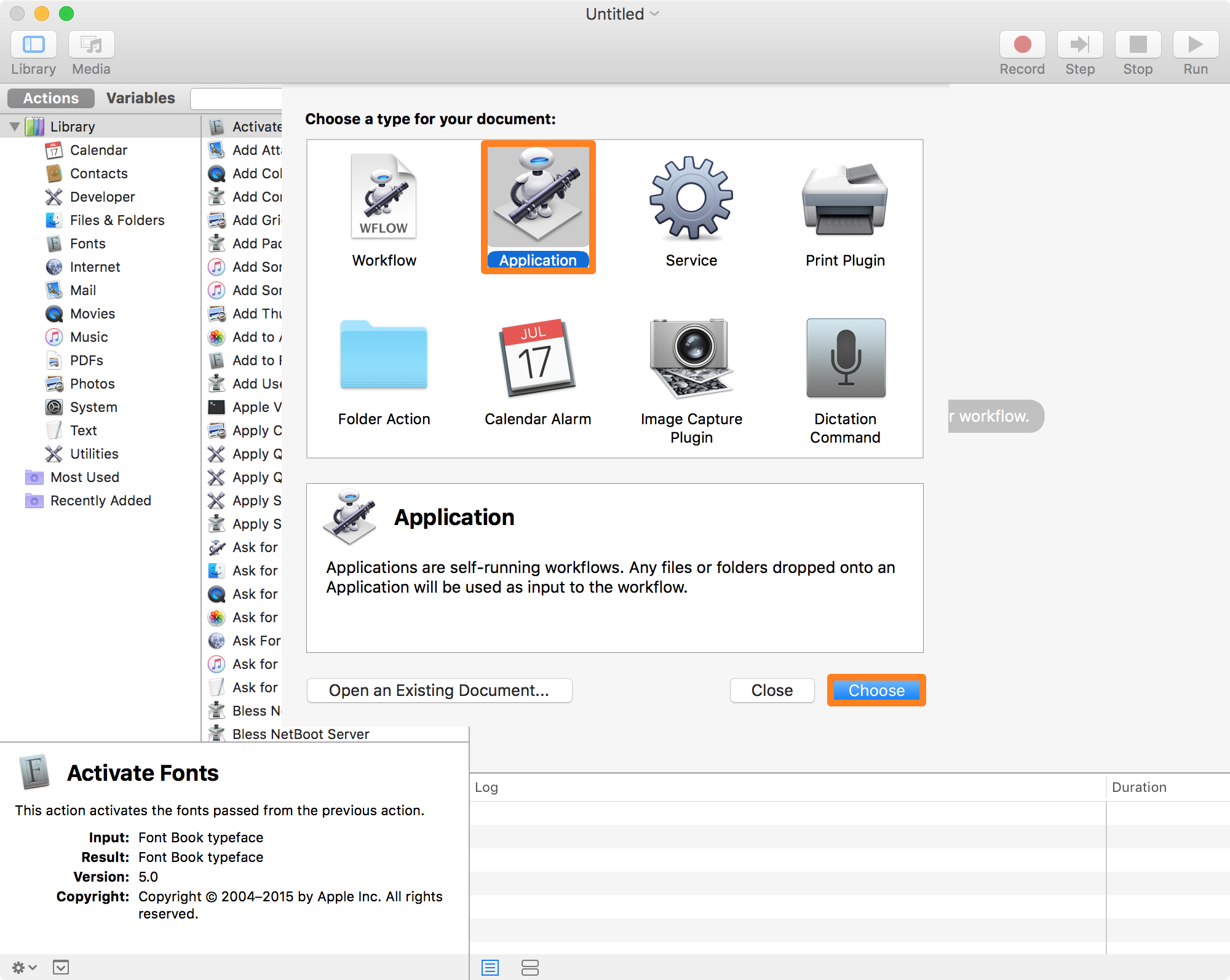 Application in Automator 1