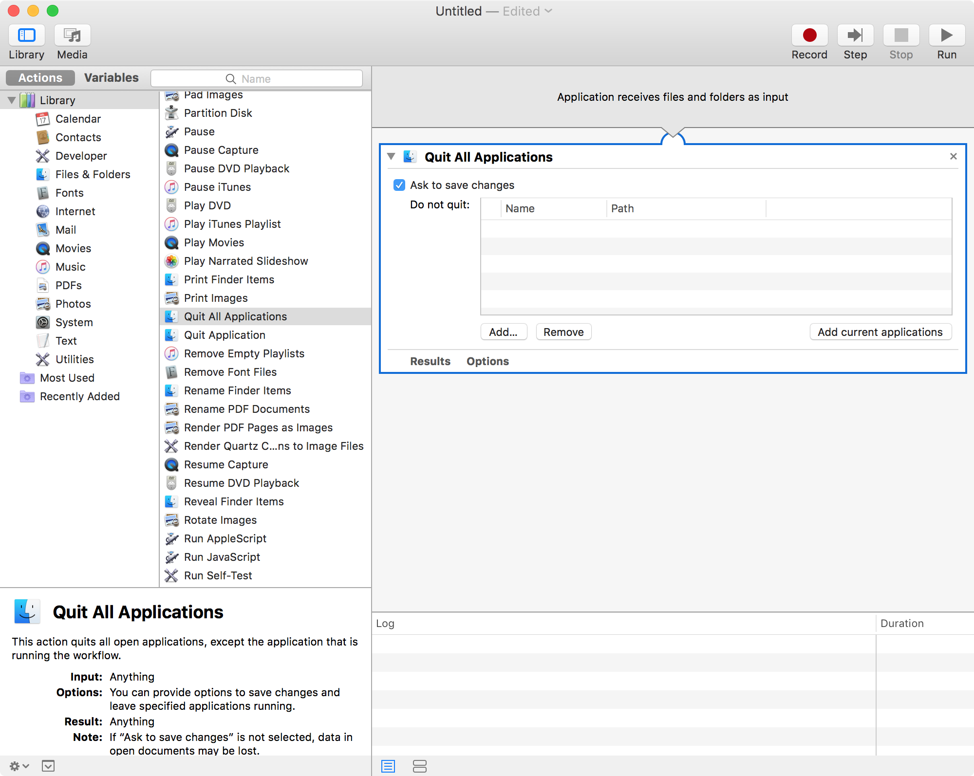 Automator Quit All Applications Loaded