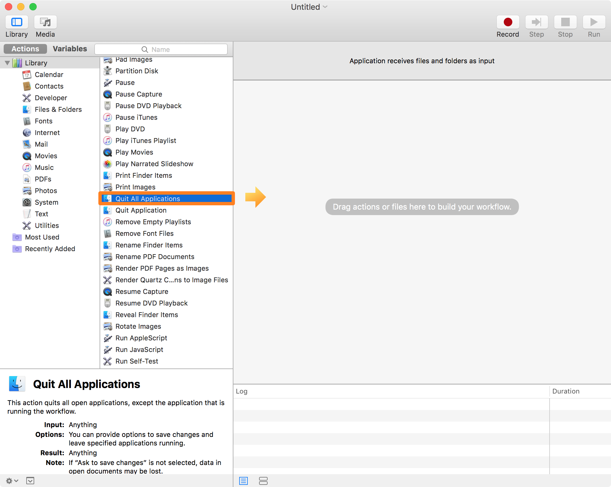 Automator Quit All Applications Workflow
