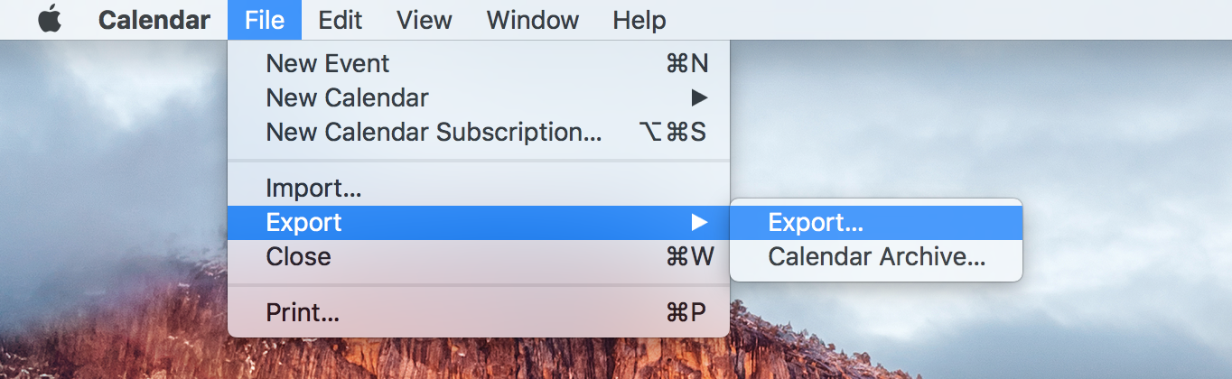 Calendar Mac File Export