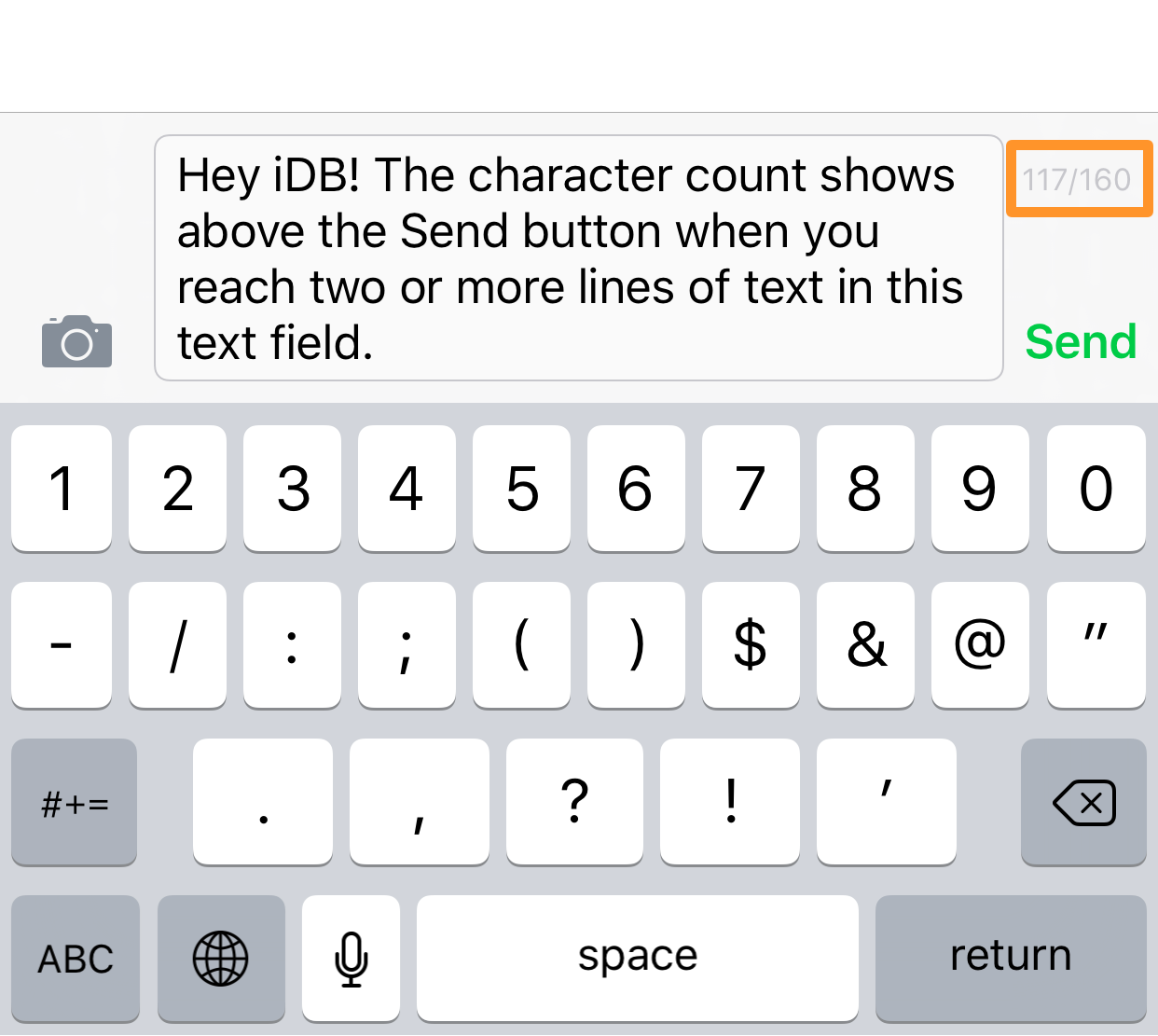 character count iphone message app